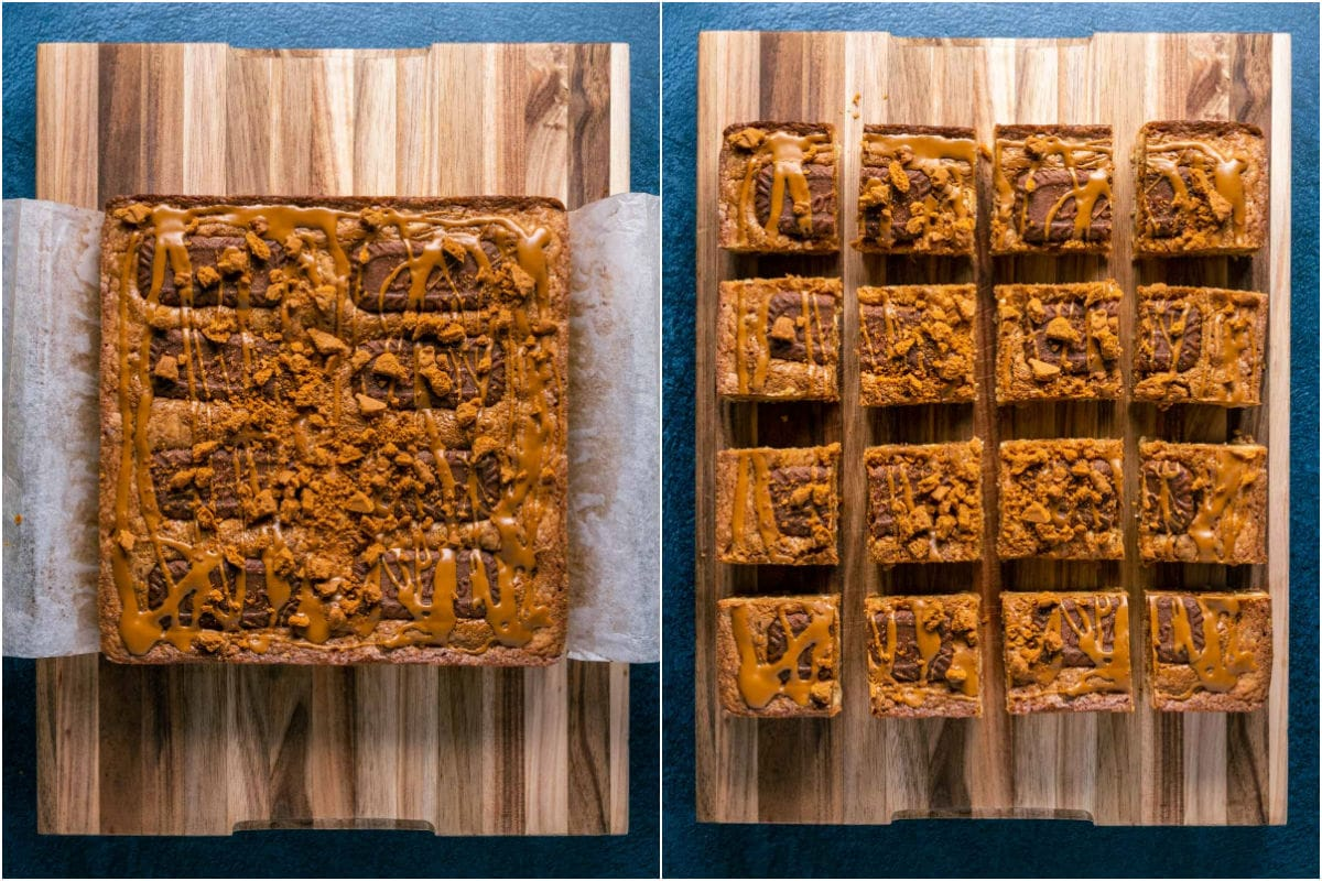 Two photo collage showing biscoff blondies on a wooden board and then cut into squares.