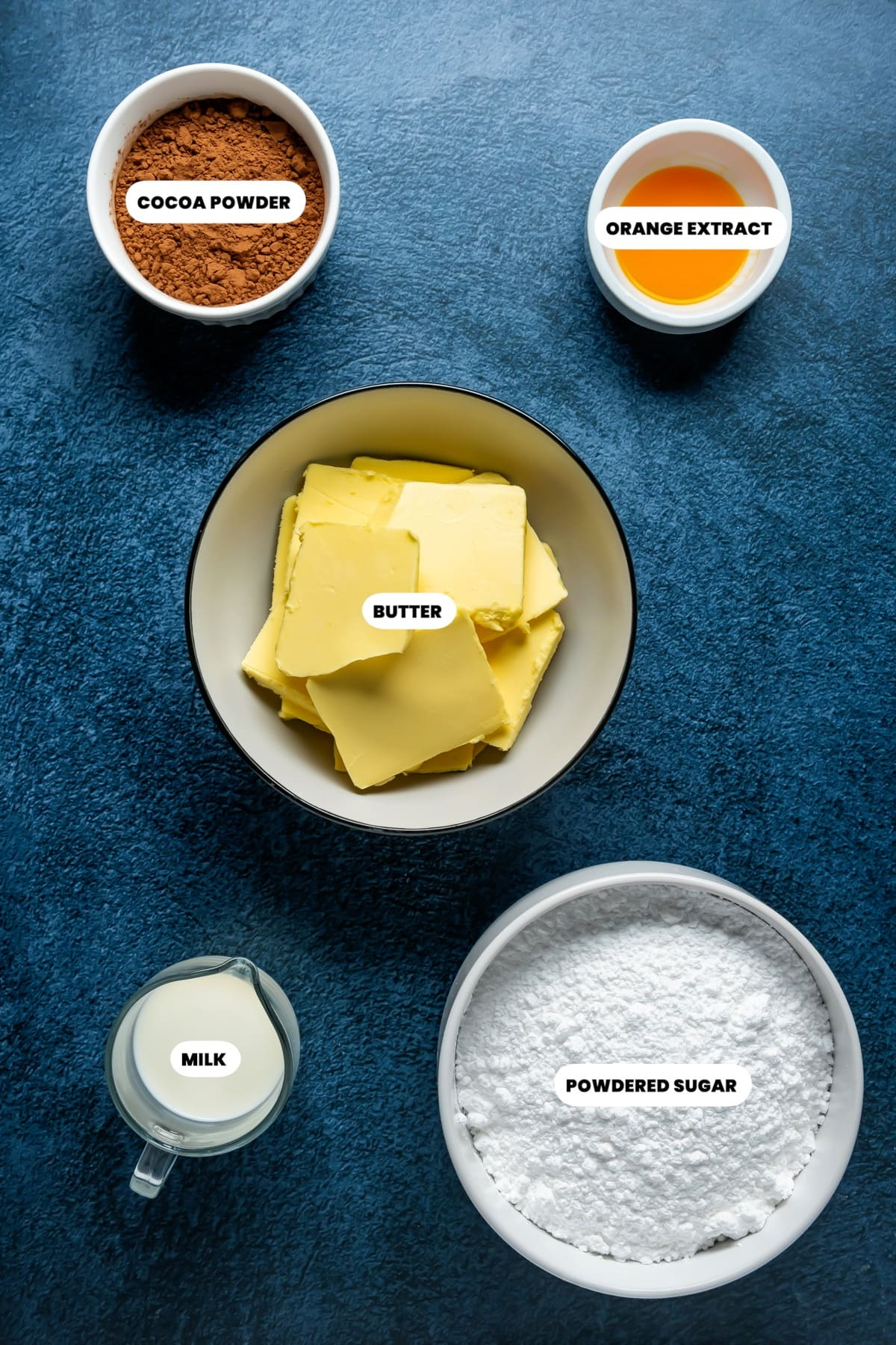 Photo of the ingredients needed to make chocolate orange buttercream.