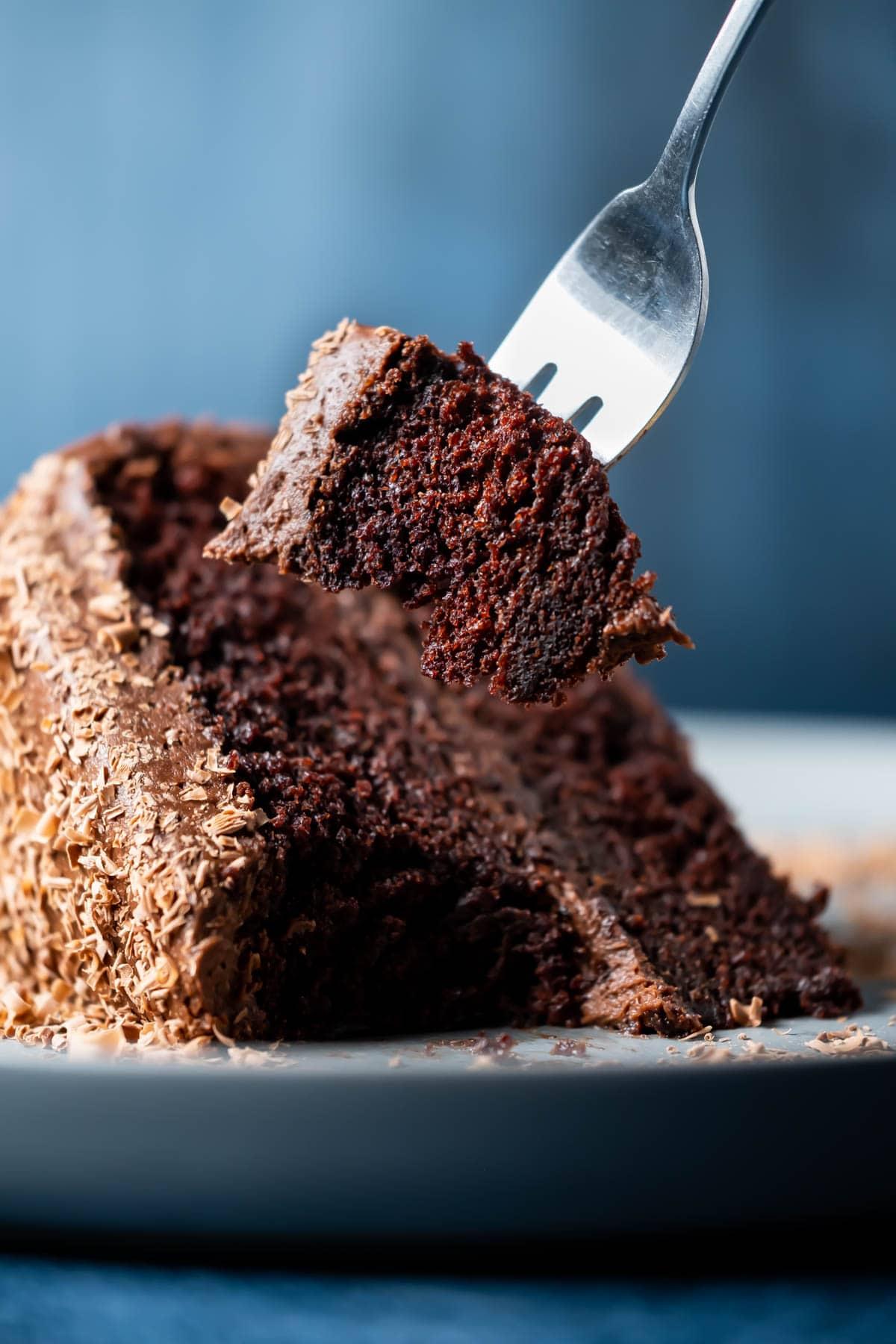 Forkful of chocolate orange cake.