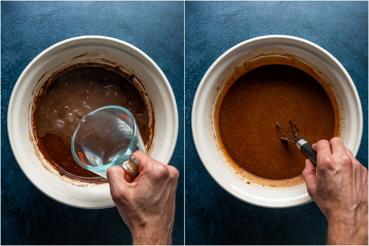Two photo collage showing hot water added to batter and whisked in.