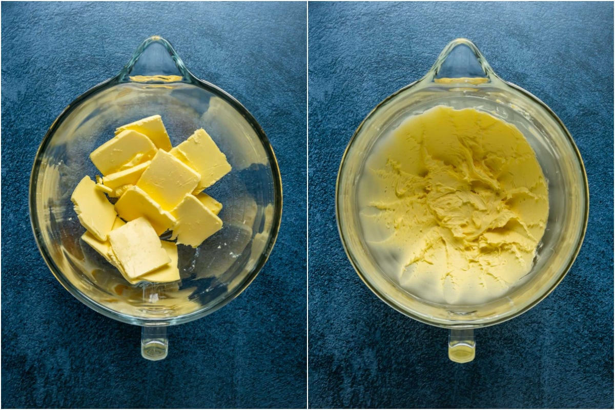 Two photo collage showing butter added to stand mixer and whisked until smooth and pale in color.
