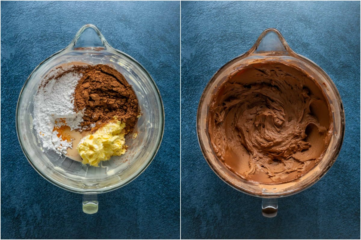 Two photo collage showing ingredients for frosting added to butter in stand mixer and whisked into a thick frosting.