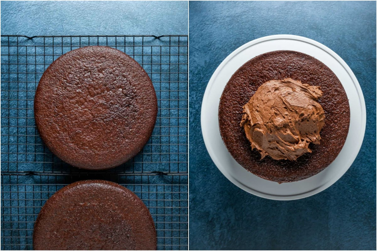Two photo collage showing cakes cooling on wire cooling rack and then being frosted on a white cake stand.