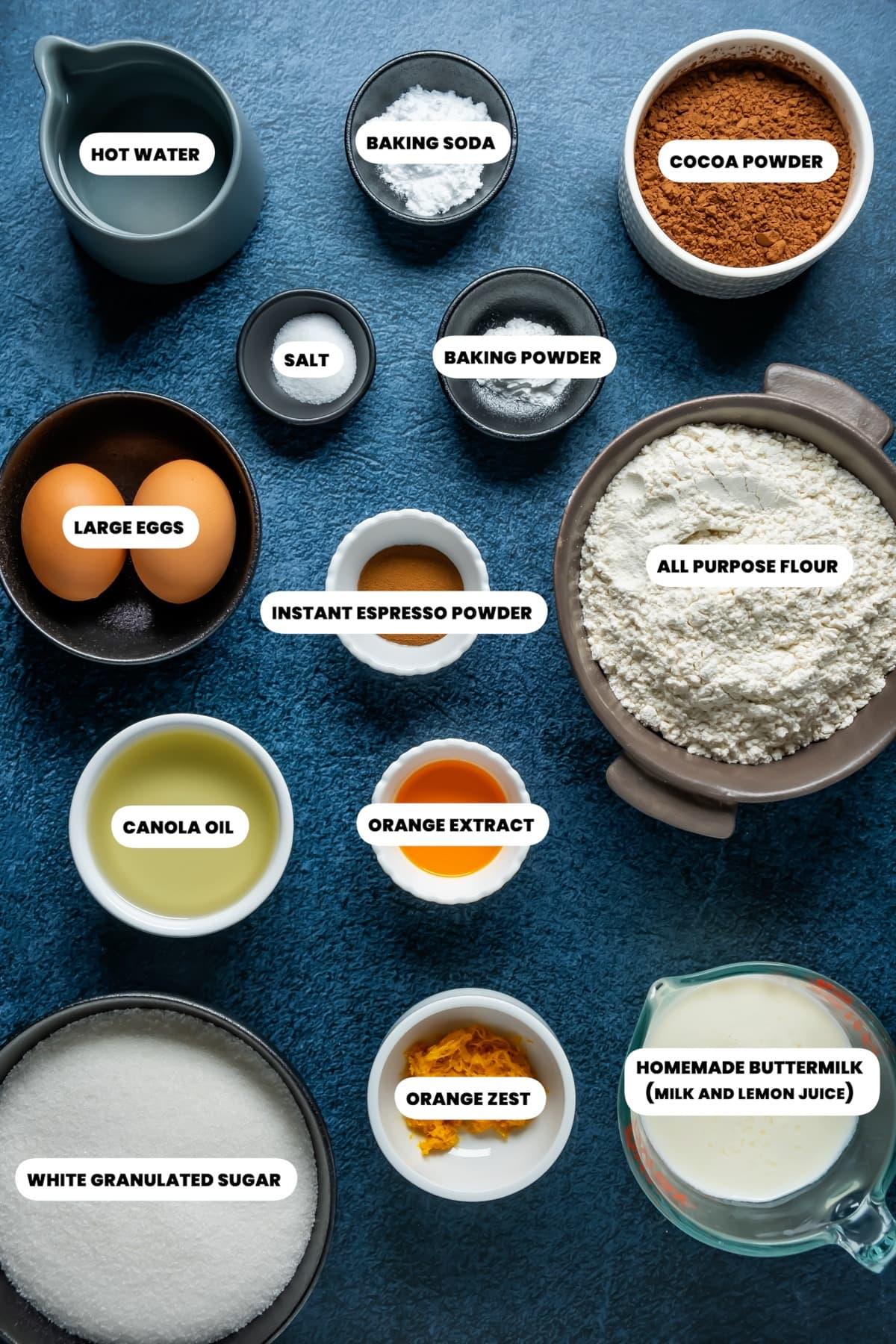 Photo of the ingredients needed to make chocolate orange cake.