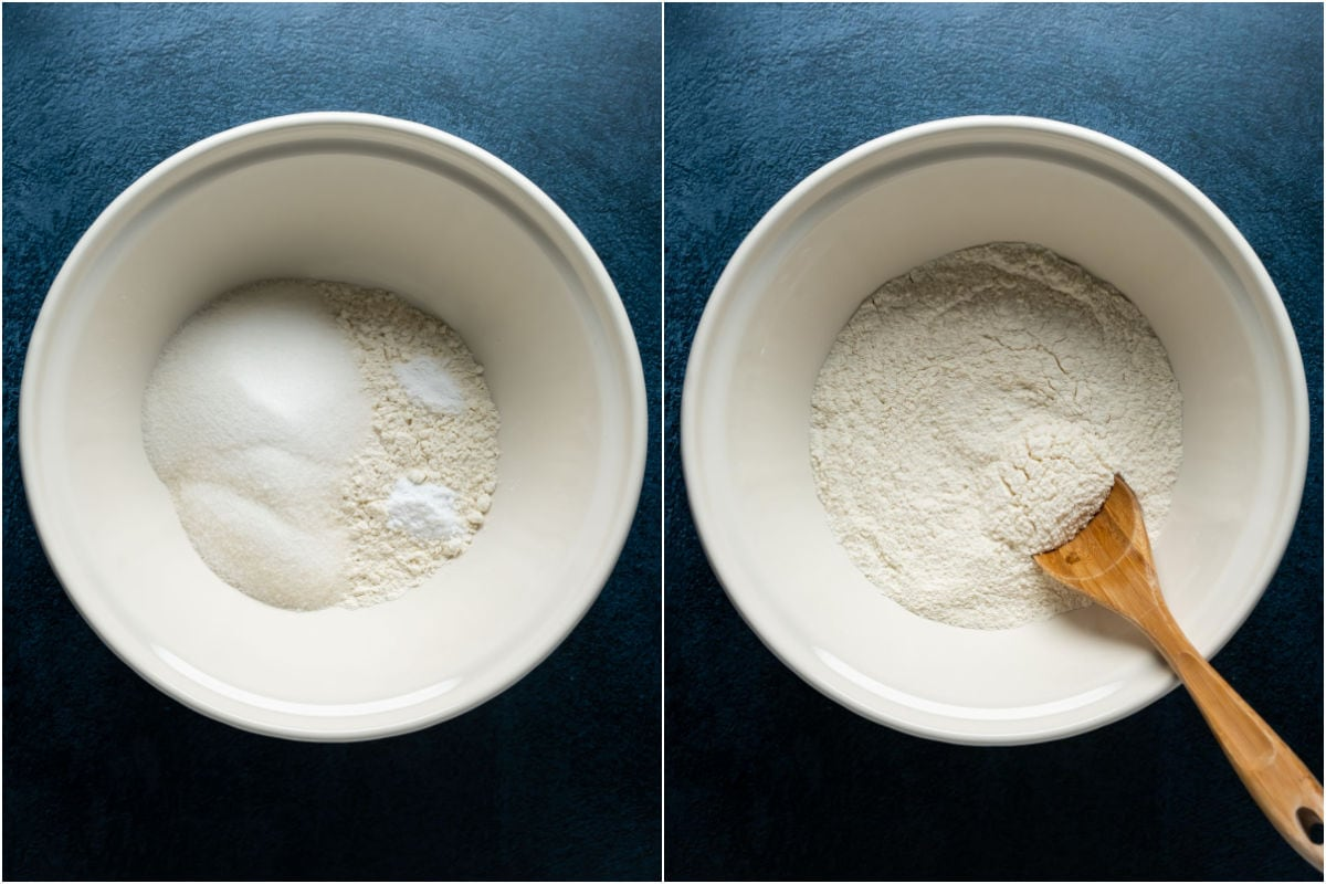 Two photo collage showing dry ingredients added to mixing bowl and mixed together with a wooden spoon.