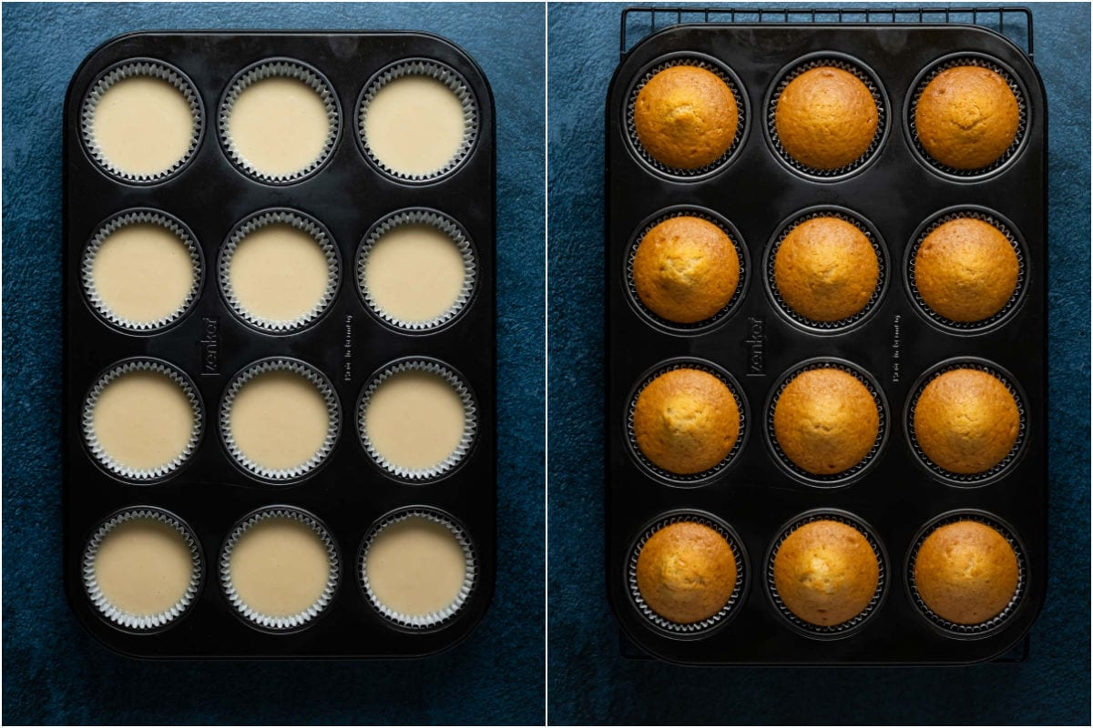 Two photo collage showing cupcakes before and after baking.