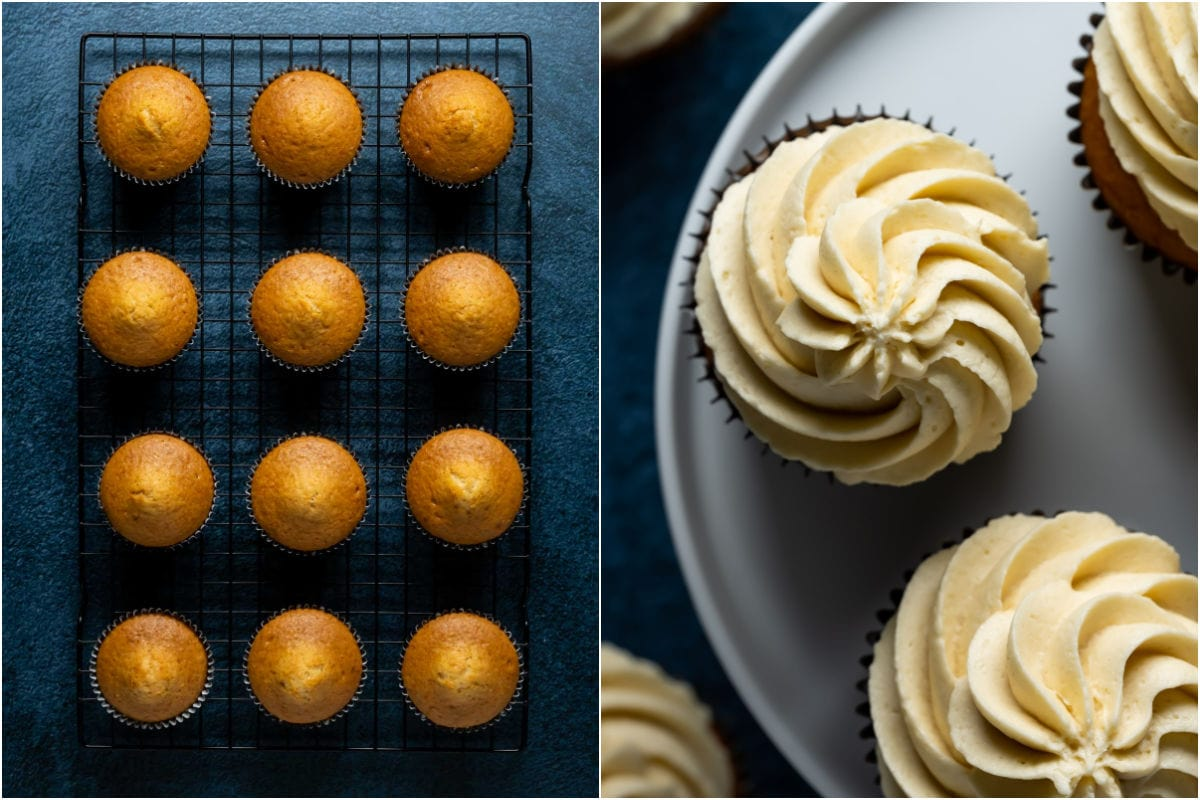 Two photo collage showing cupcakes on a wire cooling rack and then frosted on a white cake stand.