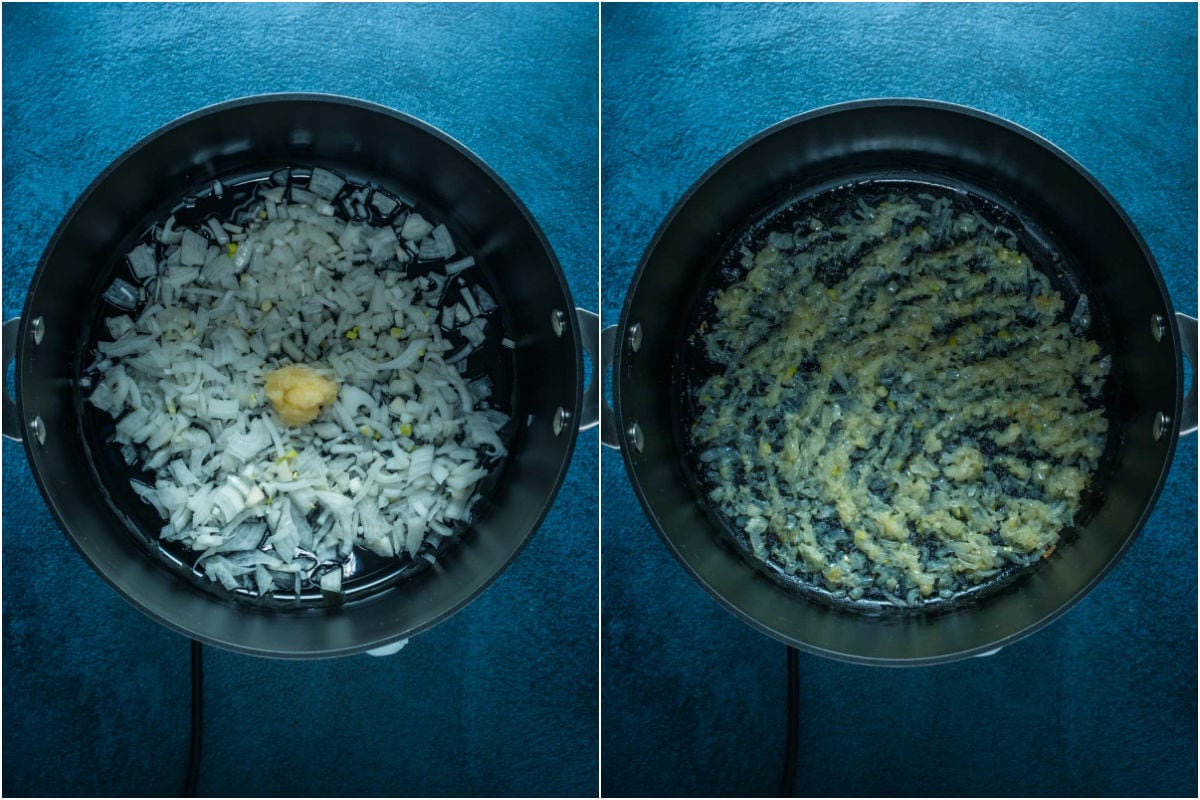 Two photo collage showing onions, garlic and olive oil in a pot and sautéed.