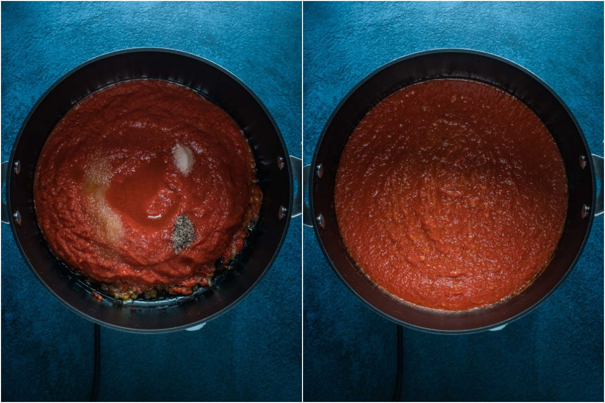 Two photo collage showing crushed tomatoes, vodka, sea salt, black pepper and brown sugar added to pot and mixed in.