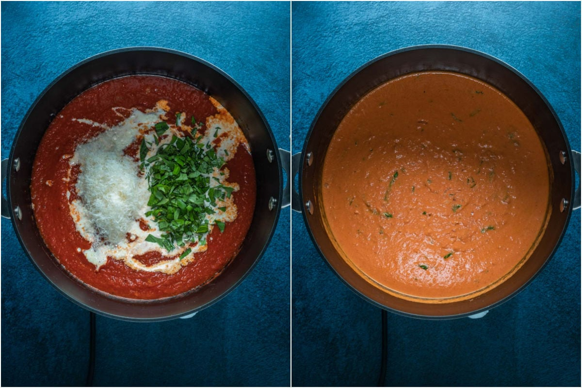 Two photo collage showing heavy cream, parmesan and fresh chopped basil added to pot and mixed in.