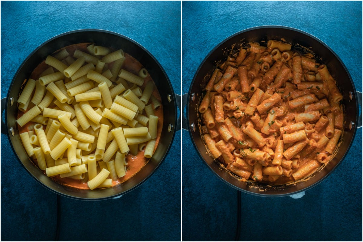 Two photo collage showing rigatoni added to sauce and folded in.