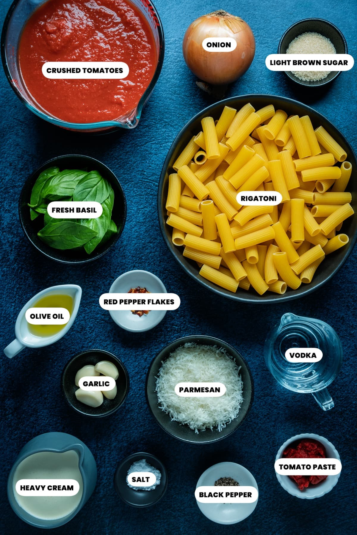 Photo of the ingredients needed to make spicy vodka rigatoni.